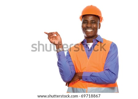 A black man African American Construction Worker on a job site. - stock photo
