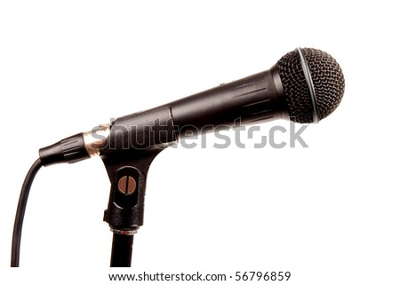 A black microphone on a stand isolated on white - stock photo