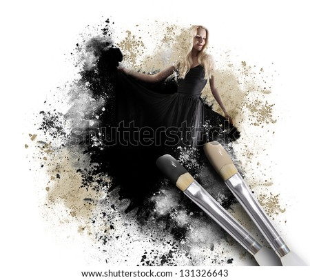 A black paintbrush is painting a woman in a long dress with a messy artistic texture around her on an isolated white background. - stock photo