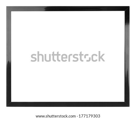 A black picture frame isolated on white - stock photo