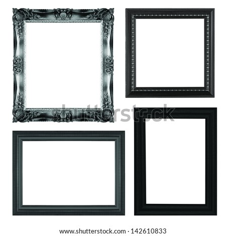 A black picture frame, isolated with clipping path. - stock photo