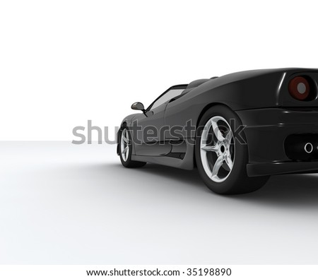 A black sport car seen by behind - stock photo