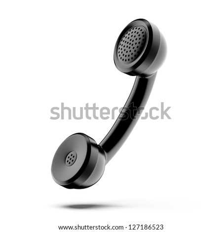 A black telephone handset - stock photo