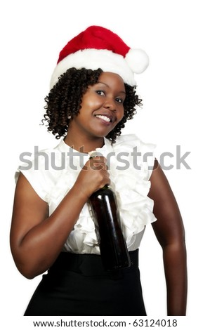 A black woman with wine wearing a Santa hat - stock photo