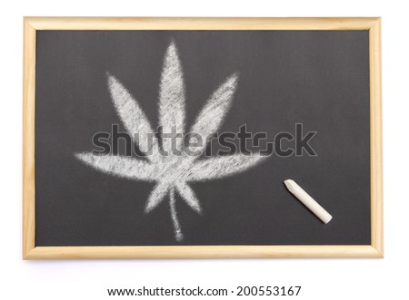 A blackboard with a chalk and the shape of the cannabis symbol drawn onto. (series) - stock photo