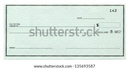 A blank banking check, Isolated on white. - stock photo