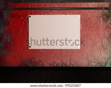 a blank banner on a dirty wall. - stock photo