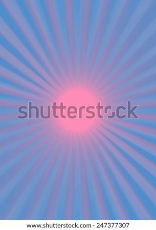 A blank blue and pink sunburst background image. - stock photo