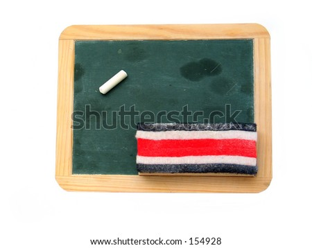 A blank chalkboard with a peice of chalk and eraser. - stock photo