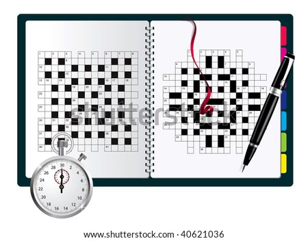 A blank crossword  in note with pen and stopwatch - stock photo