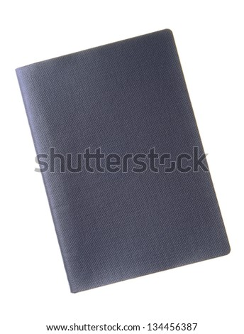 A blank dark blue passport cover with copy space isolated on white background - stock photo