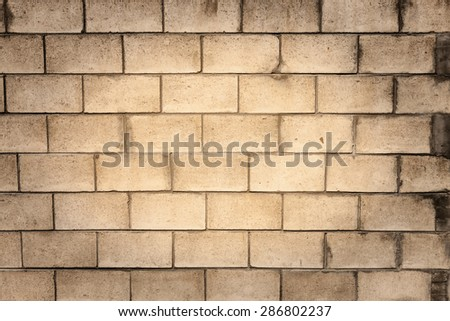 A blank, grungy cinder block wall, perfect for background and messages. - stock photo
