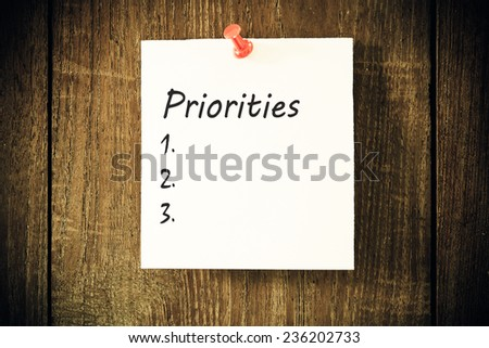 A blank list of Priorities on a paper note - stock photo