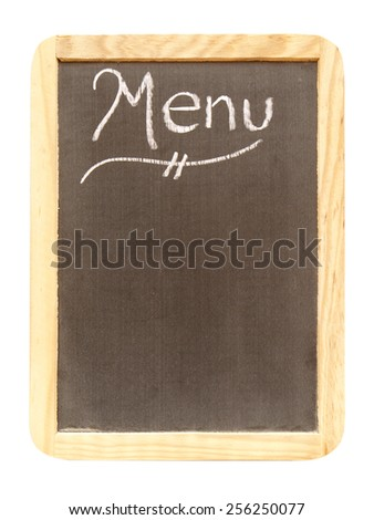 A blank menu sign isolated on white with room for your text. - stock photo