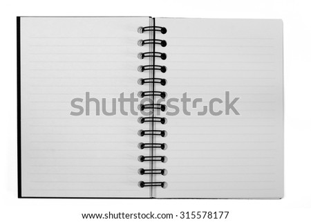 A blank open notebook with lined opposing pages. Isolated on white with clipping path. - stock photo