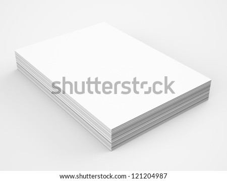 A4 Blank paper stack, mockup - stock photo