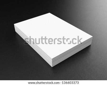A4 Blank paper stack, mockup, leather background - stock photo