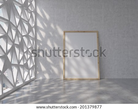 A blank poster in a wooden frame is installed in the floor of an abstract office space. - stock photo