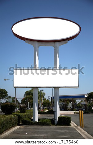 a blank sign in a parking lot blank for your text - stock photo