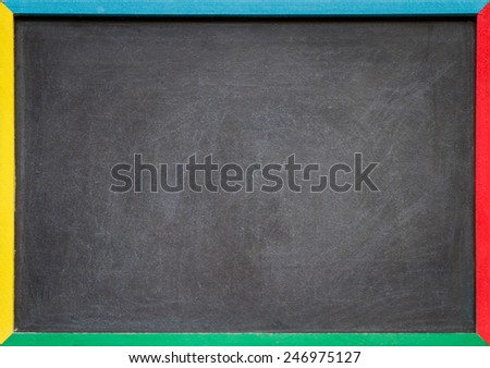 A blank slightly dirty chalkboard / blackboard in a colourful old wooden frame - stock photo