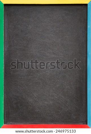 A blank slightly dirty chalkboard / blackboard in a colourful old wooden frame - stock photo