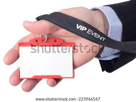 A blank VIP badge isolated on a white background - stock photo