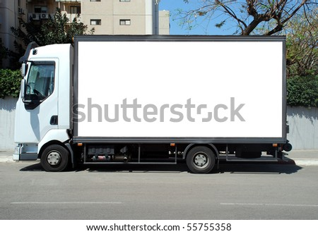 A Blank white Sign on a white truck - stock photo