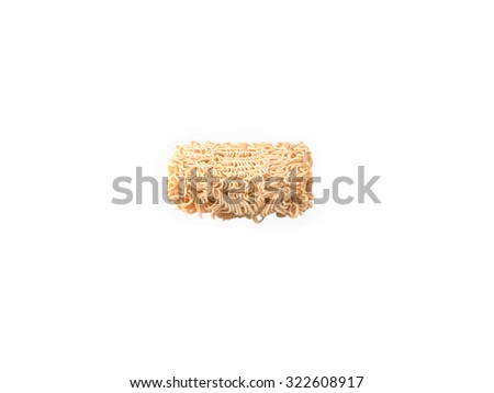 A block of uncooked Ramen Noodles isolated on white background - stock photo
