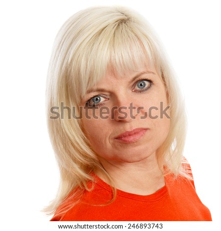 A blond haired woman with blue eyes - stock photo