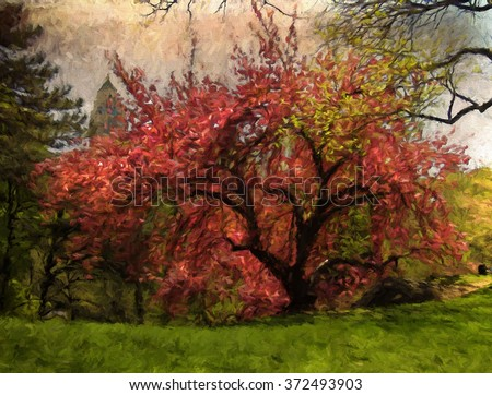 A blooming pink cherry blossom tree in Central Park, New York City - transformed into a colorful Spring painting.  - stock photo