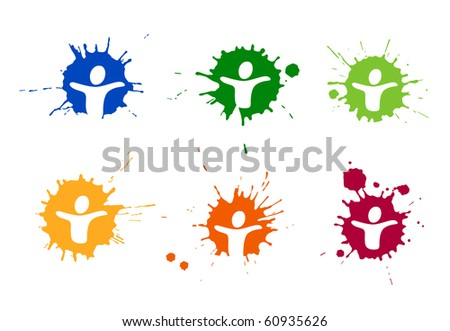 A blot with pictogram of a person - stock photo
