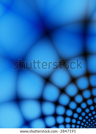 A blue and black fractal of a web going down. - stock photo