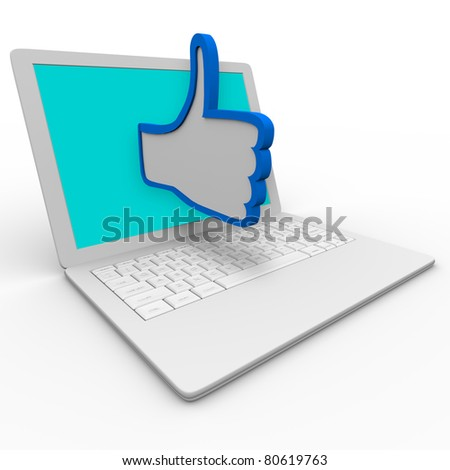 A blue and white thumbs up symbol emerges from a laptop computer screen to illustrate approval or  a positive review for a person or thing on an internet website or social network site - stock photo