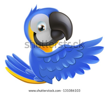 A blue and yellow macaw parrot leaning round a sign or banner and pointing his wing at what is written on it - stock photo