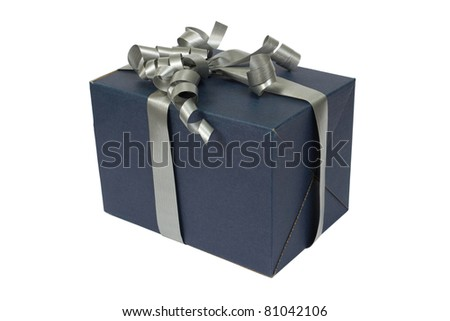 A blue box tied with a gray satin ribbon bow. A gift for Christmas, Birthday, Wedding, or Valentine's day. Isolated on white with clipping path. - stock photo