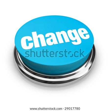 A blue button with the word Change on it - stock photo