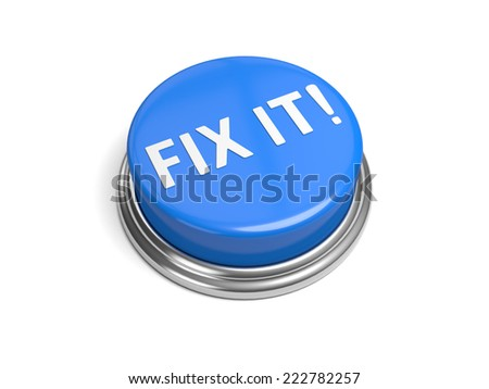 A blue button with the word fix it on it - stock photo