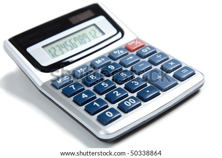 A blue buttoned calculator on a white background - stock photo