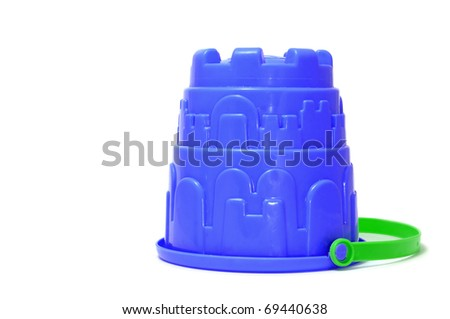 a blue castle bucket isolated on a white background - stock photo