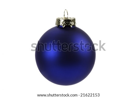 a blue Christmas Decoration isolated on white. - stock photo
