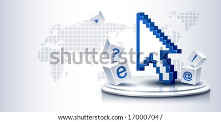 A blue digital arrow pointing up while sitting in between symbols. - stock photo
