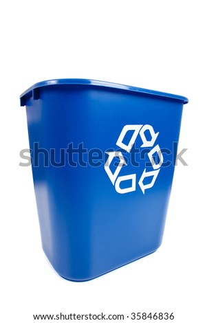 A blue empty recycle bin on a white background with copy space - stock photo