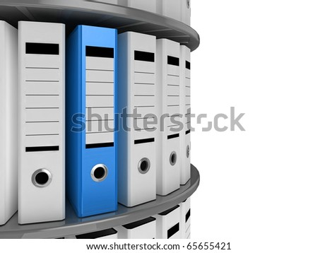 A blue file standing out on a circular shelving unit - stock photo