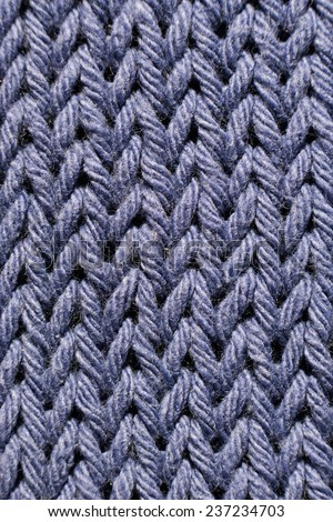 A Blue knitted texture macro close up - stock photo