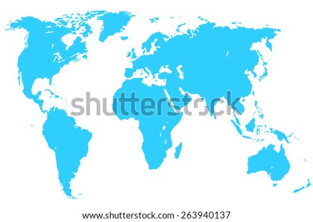 a blue map of the world, isolated, clipping path - stock photo
