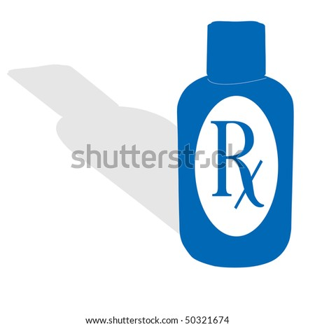 A blue medicine bottle with RX label - stock photo