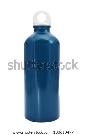a blue metal water bottle on a white background - stock photo