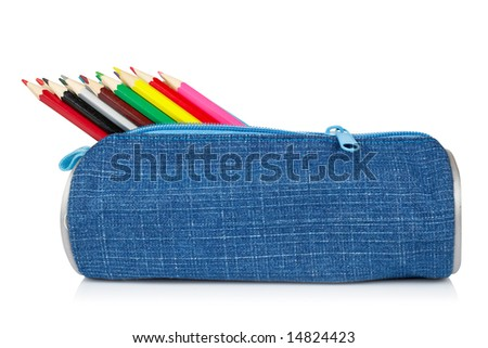 A blue pencil case reflected on white background - stock photo