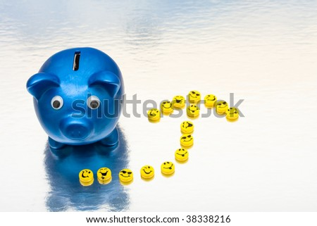 A blue piggy bank with smiley faces making an arrow on a shiny background, smile your saving - stock photo