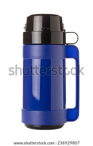 A Blue Plastic Flask Isolated on a White Background. - stock photo